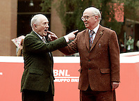 Gli artisti Gilbert Prousch (s) e George Passmore (d) posano sul red carpet del Festival Internazionale del Film di Roma, 18 ottobre 2016.<br /> Artists Gilbert Prousch (l) and George Passmore pose on the red carpet during the international Rome Film Festival at Rome's Auditorium,18 October 2016.<br /> UPDATE IMAGES PRESS/Isabella Bonotto
