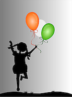 Silhouette of cute girl jumping with joy holding balloons of Indian national flag colors, background,vector illustration.<br /> <br /> Suitable for Indian Independence day, Republic day or other patriotic themes.<br /> <br /> This image is also available as scalable EPS and PNG format.