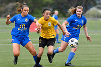 Olivia Ingham of Capital competes for the ball with Macey Fraser of Southern during the Handa Women's Premiership - Capital Football v Southern United at Petone Memorial Park, Wellington on Saturday 7 November 2020.<br /> Copyright photo: Masanori Udagawa /  www.photosport.nz