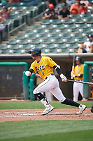 Jake Gatewood (8) of the Salt Lake Bees at bat against the Las Vegas Aviators at Smith's Ballpark on July 25, 2021 in Salt Lake City, Utah. The Aviators defeated the Bees 10-6. (Stephen Smith/Four Seam Images)