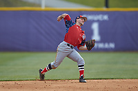 NJIT Highlanders shortstop Justin Etts (12) makes a throw to first base against the High Point Panthers at Williard Stadium on February 18, 2017 in High Point, North Carolina. The Panthers defeated the Highlanders 11-0 in game one of a double-header. (Brian Westerholt/Four Seam Images)