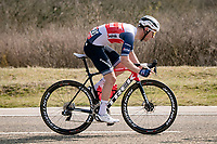 Jakob Egholm (DEN/Trek - Segafredo) making his way back to the peloton after a bike-change<br /> <br /> 45th Oxyclean Classic Brugge-De Panne 2021 (ME/1.UWT)<br /> 1 day race from Bruges to De Panne (204km)<br /> <br /> ©kramon
