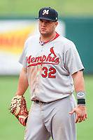 Matt Adams (32) in action during the MiLB matchup between the Memphis Redbirds and the Oklahoma City Redhawks at Chickasaw Bricktown Ballpark on April 8th, 2012 in Oklahoma City, Oklahoma. The Redhawks defeated the Redbirds 8-1  (William Purnell/Four Seam Images)