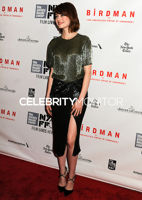 NEW YORK CITY, NY, USA - OCTOBER 11: Emma Stone arrives at the 52nd New York Film Festival - Closing Night Gala Presentation Of 'Birdman Or The Unexpected Virtue Of Ignorance' held at Alice Tully Hall on October 11, 2014 in New York City, New York, United States. (Photo by Celebrity Monitor)
