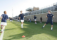 Players of the University of Notre Dame warm up during a men's NCAA match against the University of Michigan at the new Alumni Stadium on September 1 2009 in South Bend, Indiana. Notre Dame won 5-0.