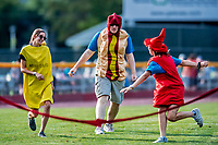 29 July 2018: A Hot Dog Mascot races Mustard and Ketup between innings of a game between the Batavia Muckdogs and the Vermont Lake Monsters at Centennial Field in Burlington, Vermont. The Lake Monsters defeated the Muckdogs 4-1 in NY Penn League action. Mandatory Credit: Ed Wolfstein Photo *** RAW (NEF) Image File Available ***