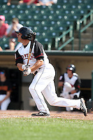 Rochester Red Wings first baseman Jeff Bailey #7 hits a double during a game against the Norfolk Tides at Frontier Field on June 5, 2011 in Rochester, New York.  Norfolk defeated Rochester 11-5 in eleven innings.  Photo By Mike Janes/Four Seam Images