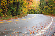 Route 118 in Woodstock, New Hampshire USA during the autumn months.