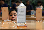 September 22, 2017, Tokyo, Japan - Apple's new iPhone 8 is displayed at an Apple store in Tokyo on Friday, September 22, 2017. The new iPhone 8 and 8 Plus featuring wireless battery charging are launched in Japanese market.    (Photo by Yoshio Tsunoda/AFLO) LWX -ytd-