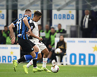 Calcio, Serie A: Inter Milano - Juventus, Giuseppe Meazza stadium, October 6 2019.<br /> Juventus' Paulo Dybala (r) is going to score contrasted by Inter's Milan Skriniar (l) during the Italian Serie A football match between Inter and Juventus at Giuseppe Meazza (San Siro) stadium, October 6, 2019.<br /> UPDATE IMAGES PRESS/Isabella Bonotto
