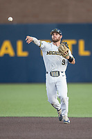 Michigan Wolverines shortstop Michael Brdar (9) makes a throw to first base during the NCAA baseball game against the Eastern Michigan Eagles on May 16, 2017 at Ray Fisher Stadium in Ann Arbor, Michigan. Michigan defeated Eastern Michigan 12-4. (Andrew Woolley/Four Seam Images)