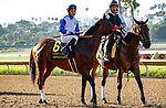 DEL MAR, CA  AUGUST 1: #6 Venetian Harbor, ridden by Mario Gutierrez,, in the post parade before the Clement L. Hirsch Stakes (Grade 1) Breeders Cup Win and You're In Distaff Division on August 1, 2021 at Del Mar Thoroughbred Club in Del Mar, CA.