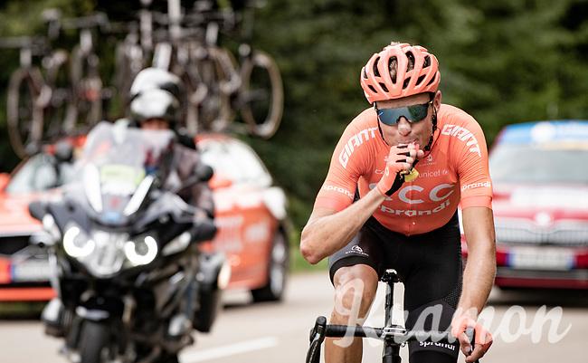Michael Schär (SUI/CCC) emptying a final energy gel as the last survivor of the early breakaway group <br /> <br /> Stage 1: Clermont-Ferrand to Saint-Christo-en-Jarez (218km)<br /> 72st Critérium du Dauphiné 2020 (2.UWT)<br /> <br /> ©kramon