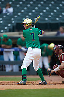 Nick Podkul (7) of the Notre Dame Fighting Irish at bat against the Florida State Seminoles in Game Four of the 2017 ACC Baseball Championship at Louisville Slugger Field on May 24, 2017 in Louisville, Kentucky. The Seminoles walked-off the Fighting Irish 5-3 in 12 innings. (Brian Westerholt/Four Seam Images)