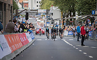 Team SKY rolling in after the finish, while passing the new TTT World Champions Team Sunweb who finished just ahead of them<br /> <br /> Men's Team Time Trial<br /> <br /> UCI 2017 Road World Championships - Bergen/Norway
