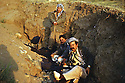 Iran 1980<br /> In Rajan, from left to right, Ali Abdullah, Razi Zibari and Failak Eddin Kakai in a trench for the night to be protected from Iraqi air raids<br /> Iran 1980<br /> A Rajan, de gauche a droite, Ali Abdullah, Razi Zibari et Failak Eddin  Kakai, passant une nuit dans une tranchée pour se protéger des raids aeriens