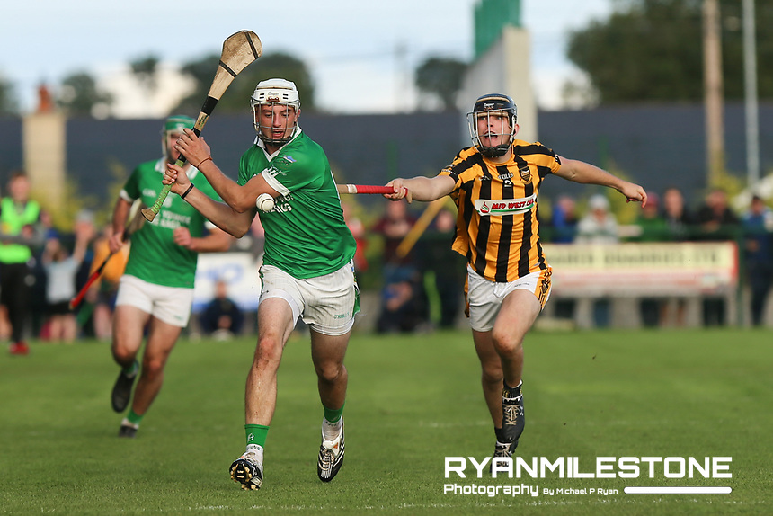 EVENT:<br /> Mid Tipperary Senior Hurling Final<br /> Upperchurch-Drombane vs Drom-Inch<br /> Sunday 29th September 2019,<br /> Littleton, Tipperary<br /> <br /> CAPTION:<br /> Tommy Nolan of Drom-Inch in action against Gerard Grant of Upperchurch-Drombane<br /> <br /> Photo By: Michael P Ryan