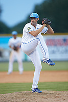 Burlington Royals relief pitcher Austin Lambright (38) in action against the Johnson City Cardinals at Burlington Athletic Stadium on July 15, 2018 in Burlington, North Carolina. The Cardinals defeated the Royals 7-6.  (Brian Westerholt/Four Seam Images)