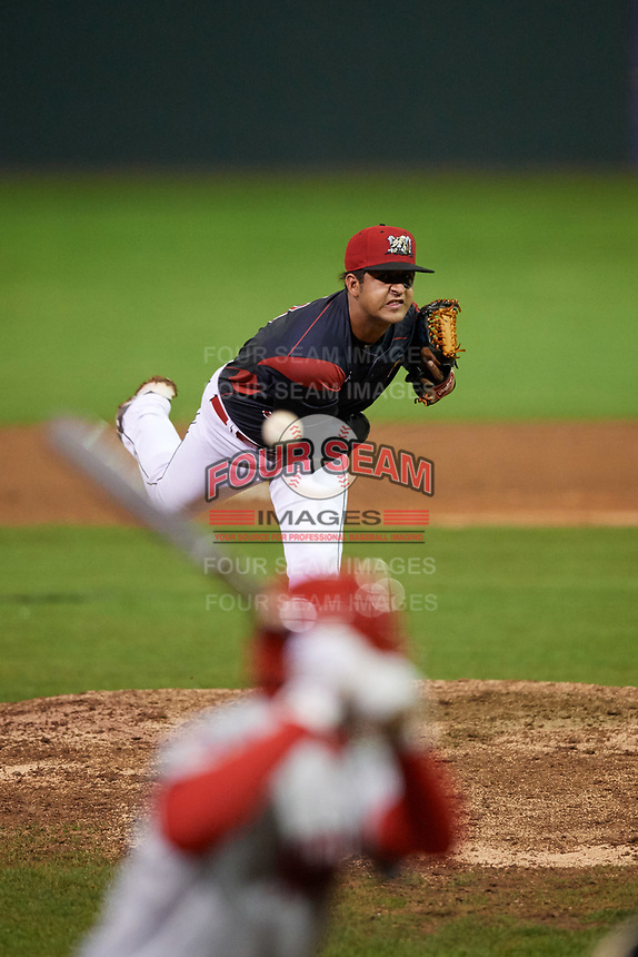 Batavia Muckdogs relief pitcher Jeremy Ovalle (31) delivers a pitch during a game against the Auburn Doubledays on September 6, 2017 at Dwyer Stadium in Batavia, New York.  Auburn defeated Batavia 6-3.  (Mike Janes/Four Seam Images)