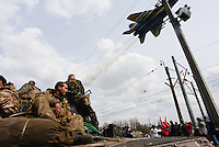 A jet fighter Mig 24 performs a fly-by as  Ukrainian forces are being blocked by local citizens near Kramatorsk city during the anti-terrorist operation.