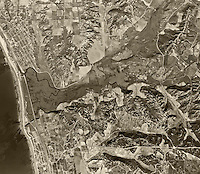historical aerial photograph Encinitas, Solana Beach, San Diego County, California, 1947