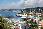 France, Provence-Alpes-Côte d'Azur, Nice: Corsica ferry at Port de Nice (Bassin du Commerce) | Frankreich, Provence-Alpes-Côte d'Azur, Nizza: die Korsika-Faehre im Hafen Port de Nice (Bassin du Commerce)
