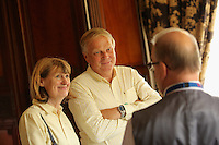 Nigel (C) and Katharine Hope (L) are given a tour by Rodney Webb (R) Tredegar House, which is leased by The National Trust in the outskirts of Newport, south Wales. Thursday 25 August 2016