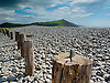 A view to the South of Aberystwyth along the Ceredigion coastline. Large posts driven into the stone and pebble beach.<br /> <br /> Stock Photo by Paddy Bergin