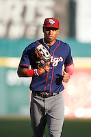 Lehigh Valley IronPigs left fielder Nick Williams (4) jogs to the dugout during a game against the Buffalo Bisons on July 9, 2016 at Coca-Cola Field in Buffalo, New York.  Lehigh Valley defeated Buffalo 9-1 in a rain shortened game.  (Mike Janes/Four Seam Images)