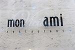 Exterior, Sign, Mont Vieil Ami Restaurant, Paris, France, Europe