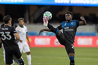 SAN JOSE, CA - SEPTEMBER 16: Jacob Akanyirige #29 of the San Jose Earthquakes controls the ball during a game between Portland Timbers and San Jose Earthquakes at Earthquakes Stadium on September 16, 2020 in San Jose, California.