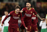 Football, Serie A: AS Roma - US Sassuolo, Olympic stadium, Rome, December 26, 2018. <br /> Roma's Nicolò Zaniolo (l) celebrates after scoring with his teammate Aleksandar Kolarov (r) during the Italian Serie A football match between Roma and Sassuolo at Rome's Olympic stadium, on December 26, 2018.<br /> UPDATE IMAGES PRESS/Isabella Bonotto