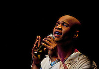 A singer performs onstage during the 20th year of the Tosco Music Party, held at the Overcash Academic and Performing Arts Center Dale F. Halton Theater Central Piedmont Community College. The annual event, named after John Tosco, owner of the Tosco Music Studio, is designed to showcase professional and amateur musicians.
