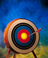 A Little Off Target; off the mark. Arrow just to one side of the center of a target. United States.