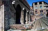 Siena:  Fontabranda Fountain, 14th  century.   Photo '83.