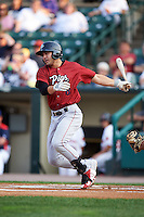 Lehigh Valley IronPigs third baseman Chase d'Arnaud (8) at bat during a game against the Rochester Red Wings on July 4, 2015 at Frontier Field in Rochester, New York.  Lehigh Valley defeated Rochester 4-3.  (Mike Janes/Four Seam Images)