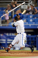 Dunedin Blue Jays left fielder Eduard Pinto (4) at bat during a game against the Tampa Tarpons on June 2, 2018 at Dunedin Stadium in Dunedin, Florida.  Dunedin defeated Tampa 4-0.  (Mike Janes/Four Seam Images)