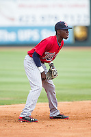 Elizabethton Twins shortstop Nick Gordon (9) on defense against the Johnson City Cardinals at Cardinal Park on July 27, 2014 in Johnson City, Tennessee.  The game was suspended in the top of the 5th inning with the Twins leading the Cardinals 7-6.  (Brian Westerholt/Four Seam Images)