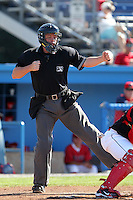 Home plate umpire Carlos Torres during a game at Dwyer Stadium in Batavia, New York on July 10, 2010.  Photo By Mike Janes/Four Seam Images