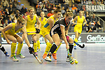 Berlin, Germany, February 09: During the FIH Indoor Hockey World Cup Pool B group match between Germany (black) and Australia (yellow) on February 9, 2018 at Max-Schmeling-Halle in Berlin, Germany. Final score 2-2. (Photo by Dirk Markgraf / www.265-images.com) *** Local caption *** Cecile PIEPER #22 of Germany