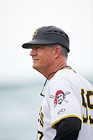 GCL Pirates manager Dave Turgeon (99) during the second game of a doubleheader against the GCL Yankees East on July 31, 2018 at Pirate City Complex in Bradenton, Florida.  GCL Pirates defeated GCL Yankees East 12-4.  (Mike Janes/Four Seam Images)