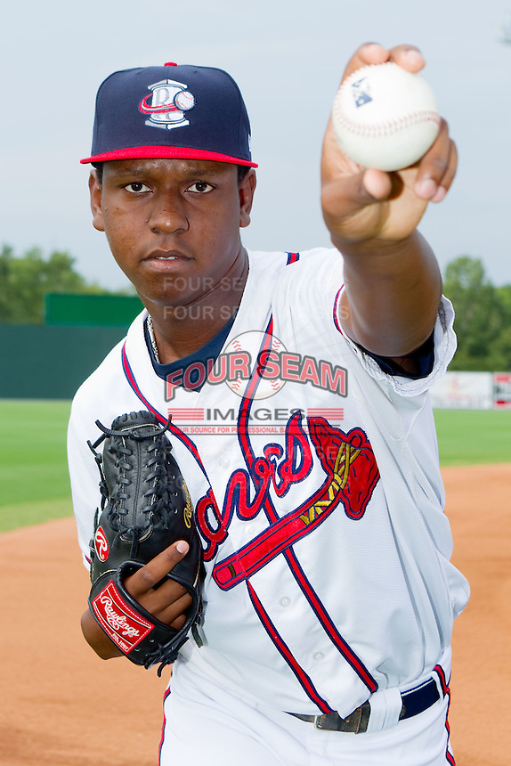 Carlos Perez #23 of the Rome Braves at State Mutual Stadium July 24, 2010, in Rome, Georgia.  Photo by Brian Westerholt / Four Seam Images