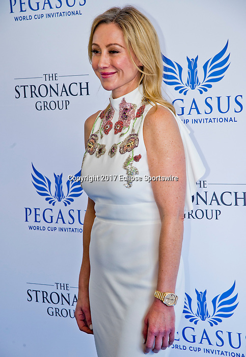 """HALLANDALE BEACH, FL - JAN 28: Stronach Group President Belinda Stronach on the """"red carpet"""" during the Pegasus World Cup Invitational Day at Gulfstream Park Race Course on January 28, 2017 in Hallandale Beach, Florida. (Photo by Scott Serio/Eclipse Sportswire/Getty Images)"""