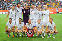 Starting Eleven of team USA during the FIFA Women's World Cup at the FIFA Stadium in Wolfsburg, Germany on July 6thd, 2011.