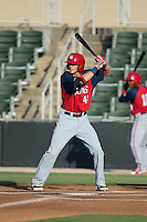 Alec Keller (40) of the Hagerstown Suns at bat against the Kannapolis Intimidators at CMC-Northeast Stadium on June 16, 2015 in Kannapolis, North Carolina.  The Suns defeated the Intimidators 8-4.  (Brian Westerholt/Four Seam Images)