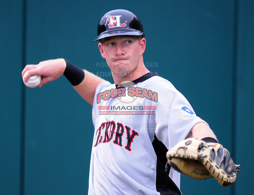 April 13, 2009: Catcher Doug Hogan (9) of the Hickory Crawdads, Class A South Atlantic League affiliate of the Texas Rangers, in a game against the Greenville Drive at Fluor Field at the West End in Greenville, S.C. Photo by: Tom Priddy/Four Seam Images