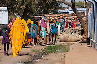 Abhaneri, Rajasthan, India.  Village Women Walking to the House of a Bride-to-be for a Pre-wedding Celebration.