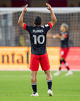 WASHINGTON, DC - MAY 13: Edison Flores #10 of D.C. United yells to a teammate during a game between Chicago Fire FC and D.C. United at Audi FIeld on May 13, 2021 in Washington, DC.