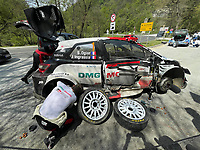 25th April 2021; Zagreb, Croatia; WRC Rally of Croatia, Final stages; Sebastien Ogier-Toyota Yaris WRC crashes his car but rebuilds enough to return and take the win