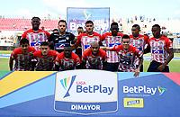 MONTERIA - COLOMBIA, 15-08-2021: Jugadores de Atletico Junior posan para una foto, antes de partido entre Jaguares de Cordoba F. C. y Atletico Junior de la fecha 5 por la Liga BetPlay DIMAYOR I 2021, en el estadio Jaraguay de Monteria de la ciudad de Monteria. / Players of Atletico Junior pose for a photo, prior a match between Jaguares de Cordoba F.C. and Atletico Junior, of the 5th date for the Betplay DIMAYOR I 2021 League at Jaraguay de Monteria Stadium in Monteria city. Photo: VizzorImage / Andres Lopez / Cont.